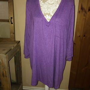 Lane Bryant 26/28 purple tunic 3/4 sleeve